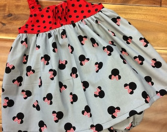 Disney Minnie Mouse dress with matching ruffled bottom diaper cover