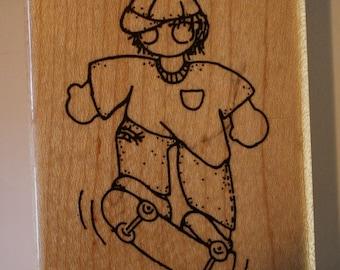September-Scottie skater boy rubber stamp by CTMH