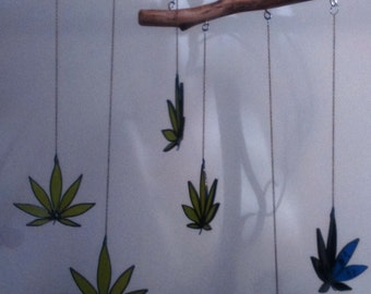 Stained Glass Cannabis Leaf Suncatchers