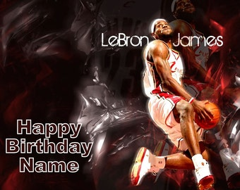 Lebron James Basketball Cavaliers Edible Image Cake Topper Personalized Birthday 1/4 Sheet