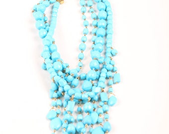 Vintage Signed JOAN RIVERS Faux Turquoise Lucite Bead Waterfall Statement Bib Necklace