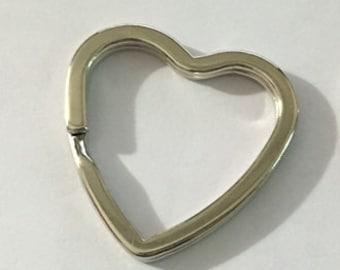 25 Heart Shaped Split Ring - Key Ring - Keyring - Split Ring - 25 Rings - Volume Discount