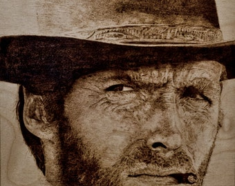 fan art pyrography Clint Eastwood MADE TO ORDER