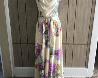 Vintage 70's new old stock NOS SOLO CALIFORNIA maxi dress and belt original tags - s/m