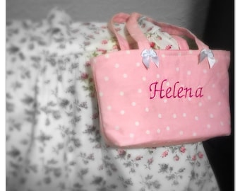 "This adorable handbag for your loved little girl (size 9.5"" x 6""). Personalize with her name... Pick your favorite color!"