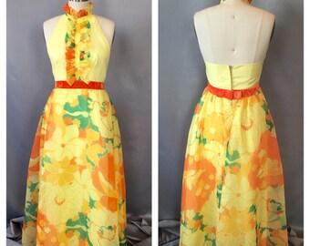SALE!!!! 1970's Sheer Floral Halter Maxi Dress