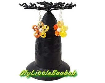 Earring Quilling Spring Flower Yellow Orange