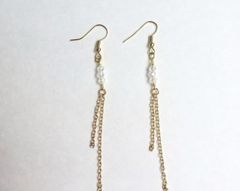 Chain and crystal earrings