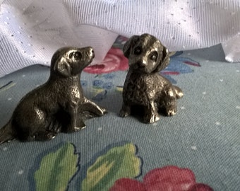 vintage pewter set of two puppy figurines