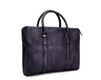 Handmade Vegetable Tanned Leather Mens Messenger Bag, Briefcase Shoulder Bag, Satchel Bag