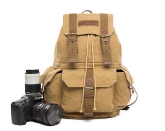 SALE  Handmade Vintage Waxed Canvas DSLR Camera Backpack, Rucksack, SLR Camera Bag Leather Camera  Bag Large Briefcase Messenger Bag