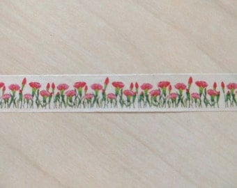 Pink Flowers washi tape - 1 full roll - 15mm x 10 m