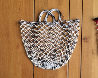 Bag - eco shopping net - Pebbles in gray and white by PiNetjes