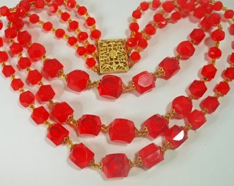 Vintage, 1950s, Lucite Vibrant Red Beaded Necklace (2437)