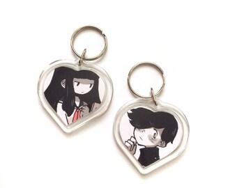 2d love story heart keychain