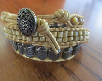 Bronze and gold three-wrap leather Chan Luu bracelet