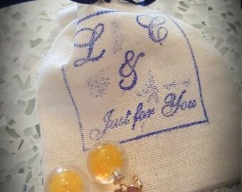 Beautiful Orange-yellow Globe Glass Earrings with 3 handmade flowers