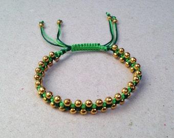 Gold Beaded Two-Tone Green Macrame Bracelet