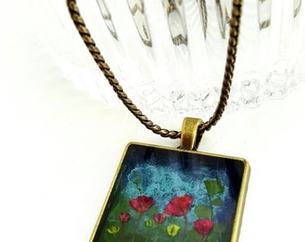 Necklace, Pressed Flower Necklace, Resin Pendant Necklace, Pressed Flower Jewelry, Real flower necklace