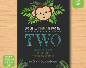 little monkey birthday invitation - SELF EDITABLE PDF - 5 x 7 inch Customisable monkey Printable Birthday Party Invite - Instant Download