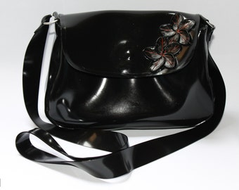 "CL Design Latex messenger bag ""Flower"" mini handbag shoulder bag party rubber"