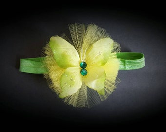 Shiny lime green baby headband with butterfly and tulle