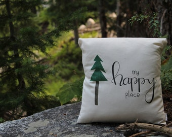 My Happy Place Hand Lettered Custom Made 14x14 Pillow
