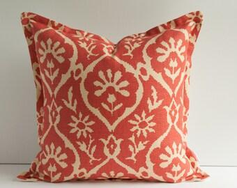Schumacher Coral Pillow Cover - High End Pillow Cover - Designer Pillow Cover - Flange Pillow Cover with Zipper - Schumacher Greeff