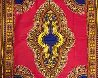 Dashiki Fabric/ Pink Dashiki Material/ African Fabric/ Sold by the yard/ Available in 6 yards