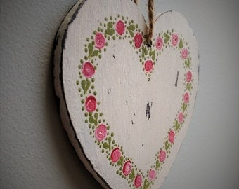 Wedding Gift, Wedding Present, Wooden Heart, Hanging Heart, Heart Decoration, Painted Heart, Shabby Chic Heart, Heart Gifts, Handmade in UK