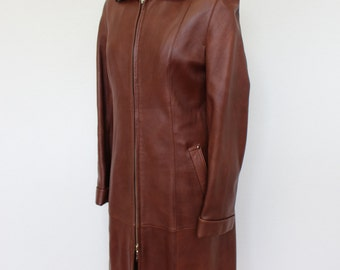 Brown Leather Coat Long Ziped Maxi 80s trench Hippie Boho Rocker Military Trench  Slouchy Long Trench Coat 90s Medium to Large