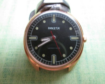 Men's Black Vintage Watch 1980s Collectibles USSR RAKETA, Rare Soviet Watch, Cool Vintage Watch