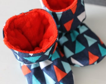 Slippers style ankle boot triangle & Red