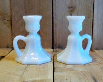Milk Glass Candle Holders Centerpiece  Vintage Decor