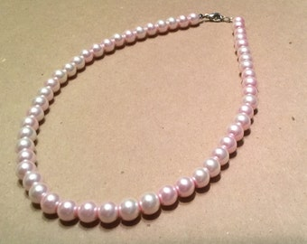 Pink Pearl Necklace, Pearl necklace, elegant wedding necklace, Light pink Necklace, Light Pink Pearl Necklace, Wedding Necklace