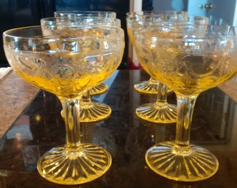 Cameo Ballerina pattern Sherbet glasses and dishes