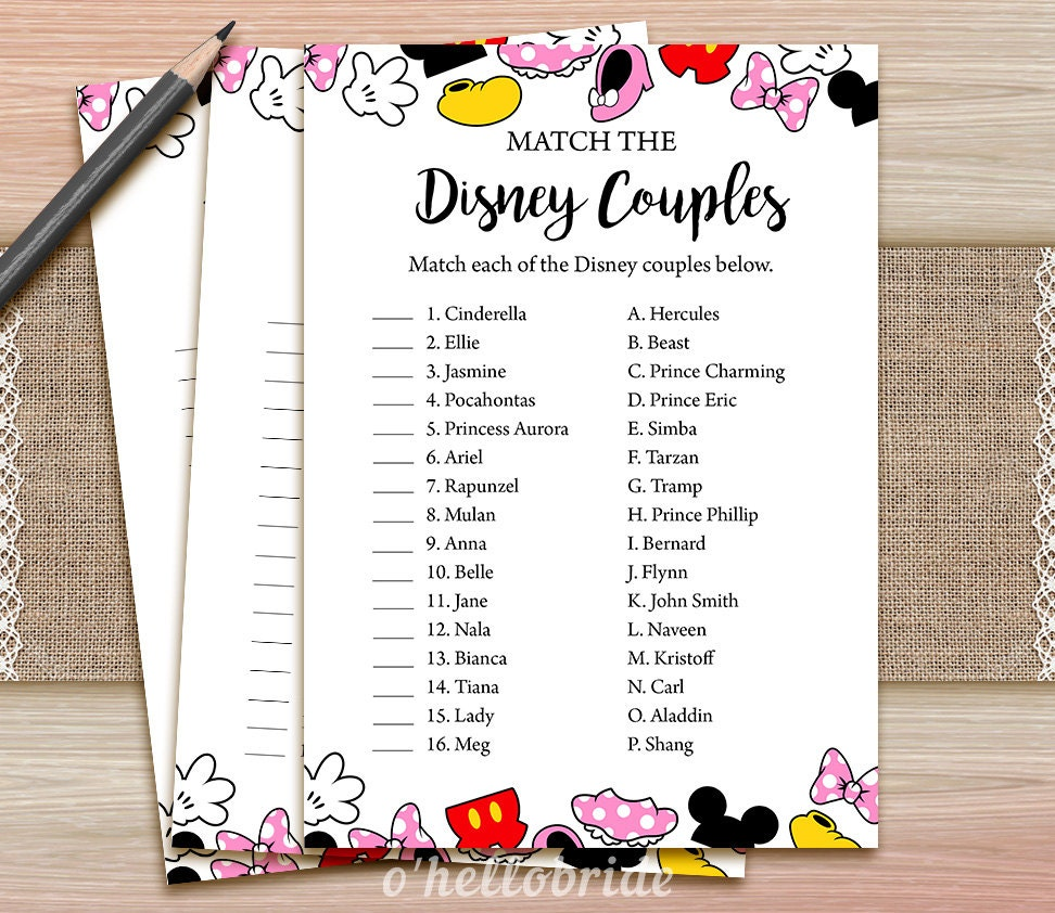 Disney couples match game printable disney bridal shower for Bridal shower games that aren t cheesy