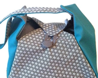Diaper bag  DIANE #1 Turquoise Black (japanese stars asanoha)