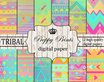 Digital paper pack, Printable paper pack, Scrapbook papers, Digital collage sheets, Tribal scrapbook patterns, Digital paper printable