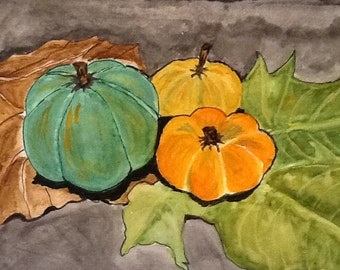 Pumpkins Original paiting ,fall painting