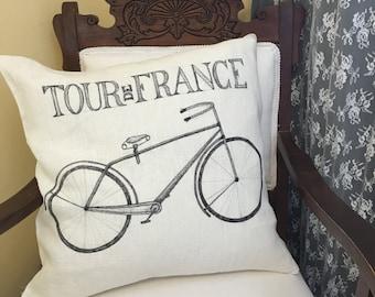 Hand drawn Tour De France Pillow Cover