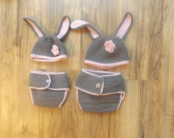 cute baby bunny hat and diaper cover