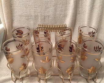 Midcentury frosted tumbler set with carrier