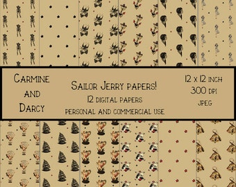Sailor Jerry style digital papers!! 12 x 12 digital papers!! tattoo art, rockabilly, scrapbook, party supplies!