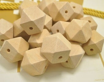 Wholesale 25mm Large Geometric Faceted Cube Wood Beads 20PC Natural Unfinished Unpainted Polyhedron wooden bead for Crafts Jewelry