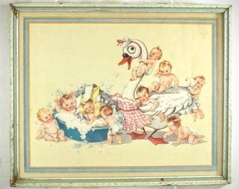 Vintage Framed Swan Soap Poster