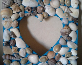 Hand Painted Sea Shell Heart Shaped Picture Frame