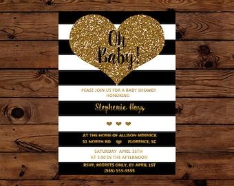 Black, White and Gold Mod Baby Shower Invitaton