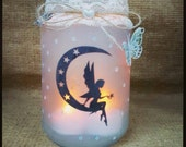Items Similar To Moon Fairy Jar Silhouette Candle Holder