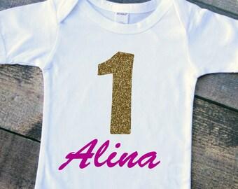 Baby girl birthday bodysuit tshirt